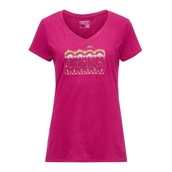 Patagonia Femme Fitz Roy Cotton V-Neck T-Shirt Frauen - T-Shirt