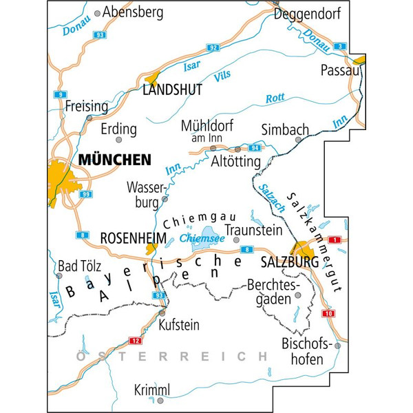 Maggiolina Airtop ADFC-Radtourenkarte 27 Oberbayern Ost