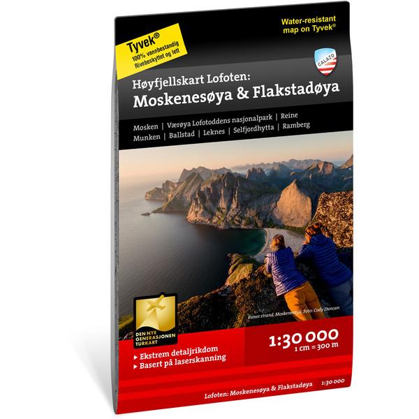 Calazo HØYFJELLSKART LOFOTEN: MOSKENSØYA &  FLAKSTADØYA 1:30 000