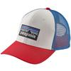 Patagonia P-6 LOGO TRUCKER HAT Unisex - WHITE W/FIRE/ANDES BLUE